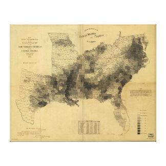 隷属の人口地図の南部諸州の内戦 キャンバスプリント