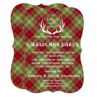 (雄ジカの)枝角の赤い緑の格子縞のクリスマスのパーティの招待状 12.7 X 17.8 インビテーションカード