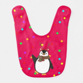(雄ジカの)枝角を搭載する赤のクリスマスのペンギン ベビービブ