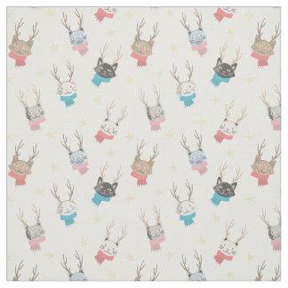 (雄ジカの)枝角パターンの「Meowyクリスマス」の休日猫 ファブリック