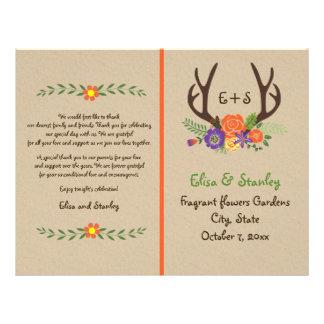 (雄ジカの)枝角及びオレンジの花のモノグラムの結婚式プログラム チラシ