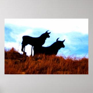 雄牛および雄牛ポスター ポスター