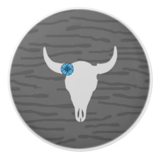 雄牛のスカルのノブ セラミックノブ