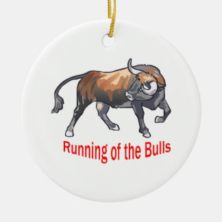 雄牛の走ること セラミックオーナメント
