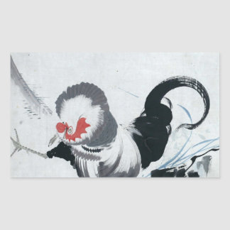 雄鶏図、若冲のオンドリ(詳細)、Jakuchu 長方形シール