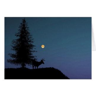 雄鹿および月の景色の写真撮影 カード