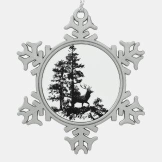 雄鹿のシカの木の森林動物のシルエットの自然の芸術 スノーフレークピューターオーナメント