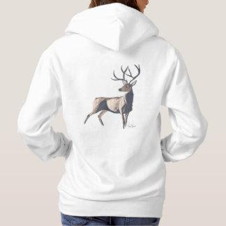雄鹿のフード付きスウェットシャツ パーカ