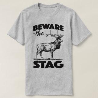雄鹿パーティを週末を過ごします独身おもしろいなTの用心して下さい Tシャツ