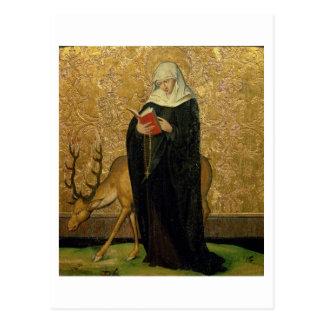 雄鹿(パネルの油)を持つ女性の聖者 ポストカード