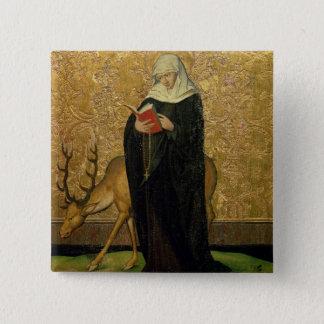 雄鹿(パネルの油)を持つ女性の聖者 5.1CM 正方形バッジ