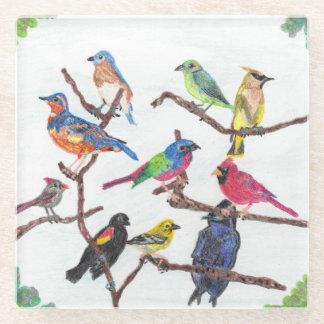 集まるカラフルな鳴き鳥ガラスのコースター ガラスコースター