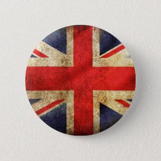 集中するグランジなイギリスの旗ボタン 5.7CM 丸型バッジ