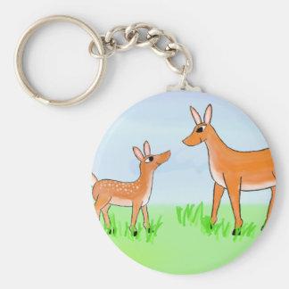 雌ジカおよび子鹿 キーホルダー