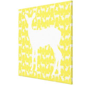 雌ジカ黄色いキャンバスプリントのシカ キャンバスプリント