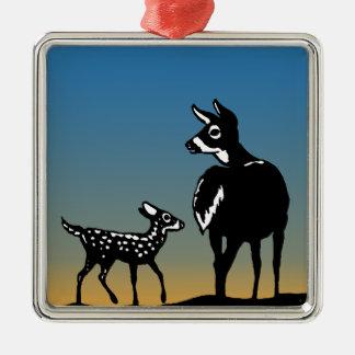 雌ジカ-子鹿のたそがれのロゴ メタルオーナメント