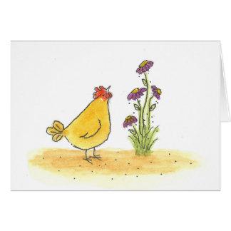 雌鶏および高い花 ノートカード