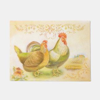 雌鶏及びオンドリの玄関マットはイタリアンな田舎で置きました ドアマット