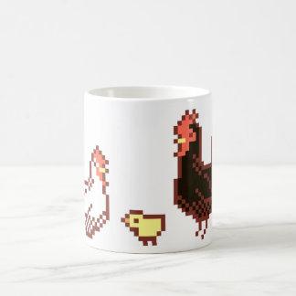 雌鶏、オンドリおよびひよこピクセル芸術のマグ コーヒーマグカップ