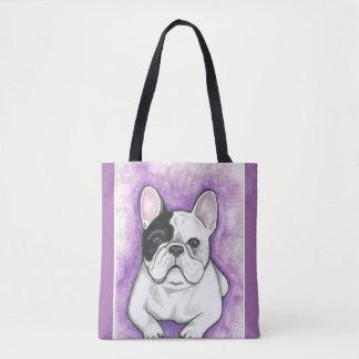 雑色のフレンチ・ブルドッグの紫色のトートバック トートバッグ