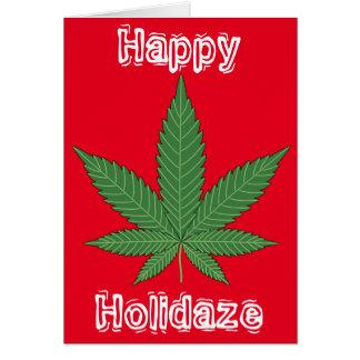 雑草の葉のクリスマス幸せなHolidaze カード
