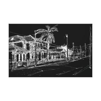 雑誌の通り、ニュー・オーリンズ。 夜空 キャンバスプリント