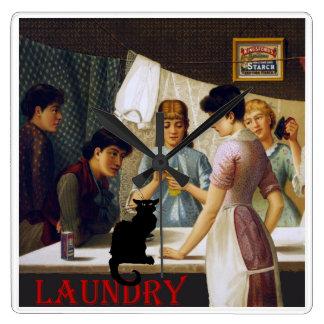 雑談のNoir洗濯猫 スクエア壁時計