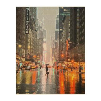 雨のニューヨークシティ ウッドウォールアート