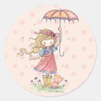 雨の小さくお洒落な女の子そして子ネコ ラウンドシール