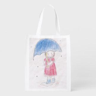 雨の小さな女の子 エコバッグ