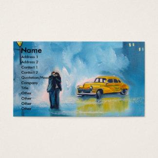雨の日のカップルの黄色のタクシー 名刺