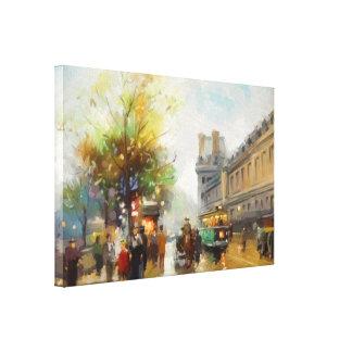 雨の日のパリ。 水彩画の絵画 キャンバスプリント