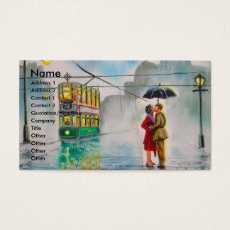 雨の日のロマンチックなカップルの傘の市街電車の絵画 名刺