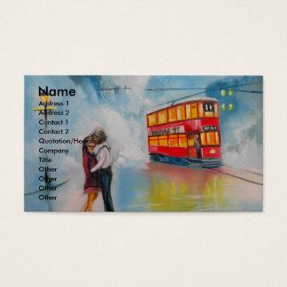 雨の日のロマンチックなカップルの市街電車のロマンチックなカップル 名刺