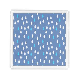 雨の日の青の雨滴雨青く白いパターン アクリルトレー