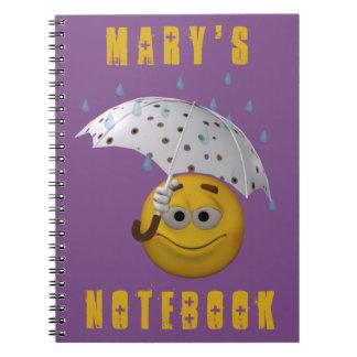 雨の日の3dスタイルのスマイリー ノートブック
