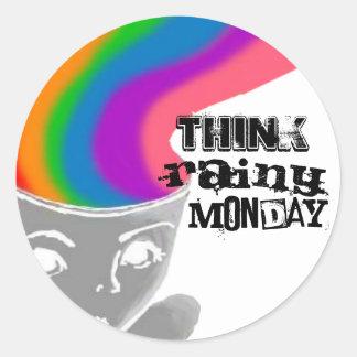 雨の月曜日は幸せな思考のステッカーを考えます ラウンドシール