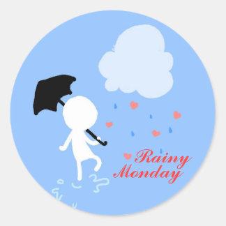 雨の月曜日雨雨ステッカー ラウンドシール