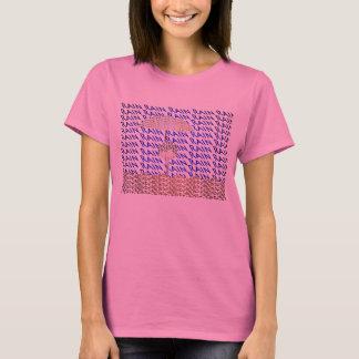 雨タイポグラフィの女性のTシャツ Tシャツ