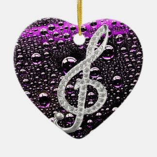 雨低下のbakcgroundとのピアノGclefの記号 セラミックオーナメント