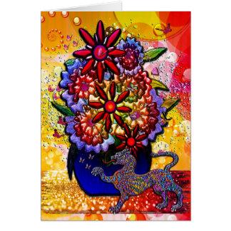 雨及び蝶のコバルトブルーのつぼの花 カード