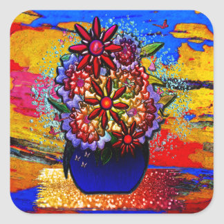 雨及び蝶のコバルトブルーのつぼの花 スクエアシール