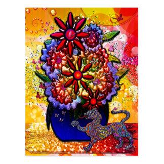 雨及び蝶のコバルトブルーのつぼの花 ポストカード