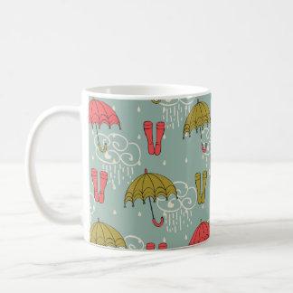 雨期の傘のデザイン コーヒーマグカップ