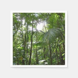雨林のおおいの熱帯緑による日光 スタンダードカクテルナプキン
