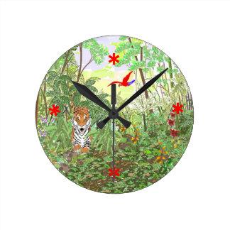 雨林のトラ ラウンド壁時計