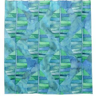 雨林の葉が多い水彩画 シャワーカーテン