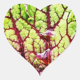 雨滴が付いている美しくカラフルな葉 ハートシール