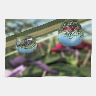 雨滴の台所タオルのバラ キッチンタオル