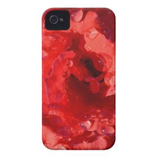 雨滴のiPhoneの赤いミニチュアバラの花びら Case-Mate iPhone 4 ケース